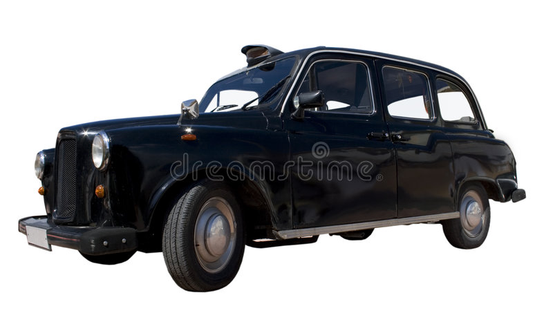 English Taxi. Black taxi on a white background royalty free stock images