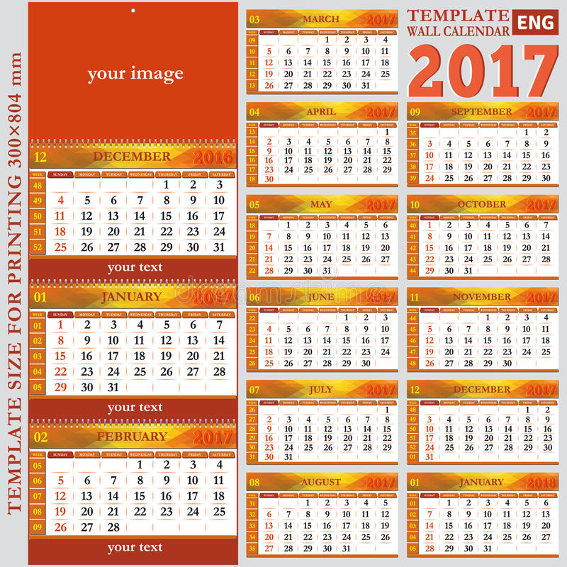 English Template Wall Quarterly Calendar 2017 Stock Vector - Image