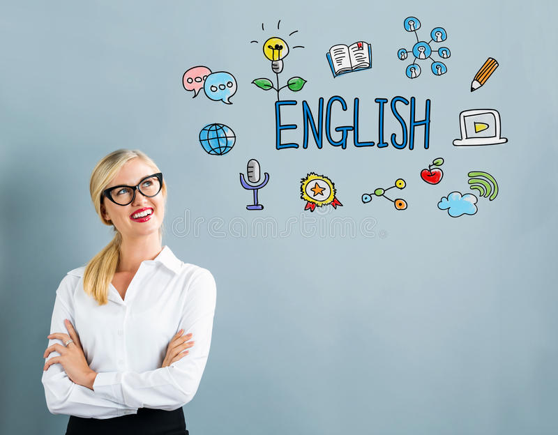 English text with business woman stock photography