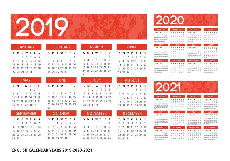 English textured calendar 2019-2020-2021 vector template royalty free illustration