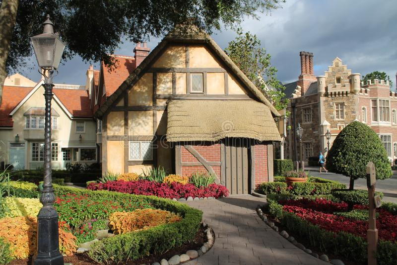 Old English town in countries pavilion at Epcot. English town. Epcot International pavilion showcase of nations, Orlando, Florida royalty free stock images