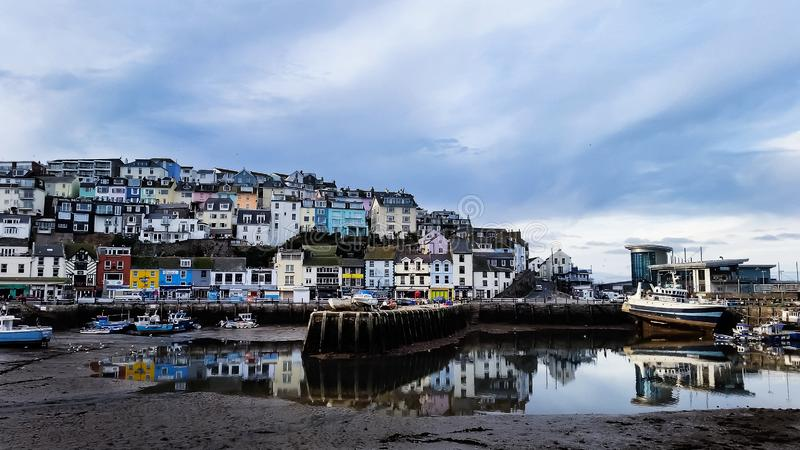 English Village, Brixham, Devon, UK. Sea and Boats - English Village, Brixham, Devon, UK royalty free stock photos