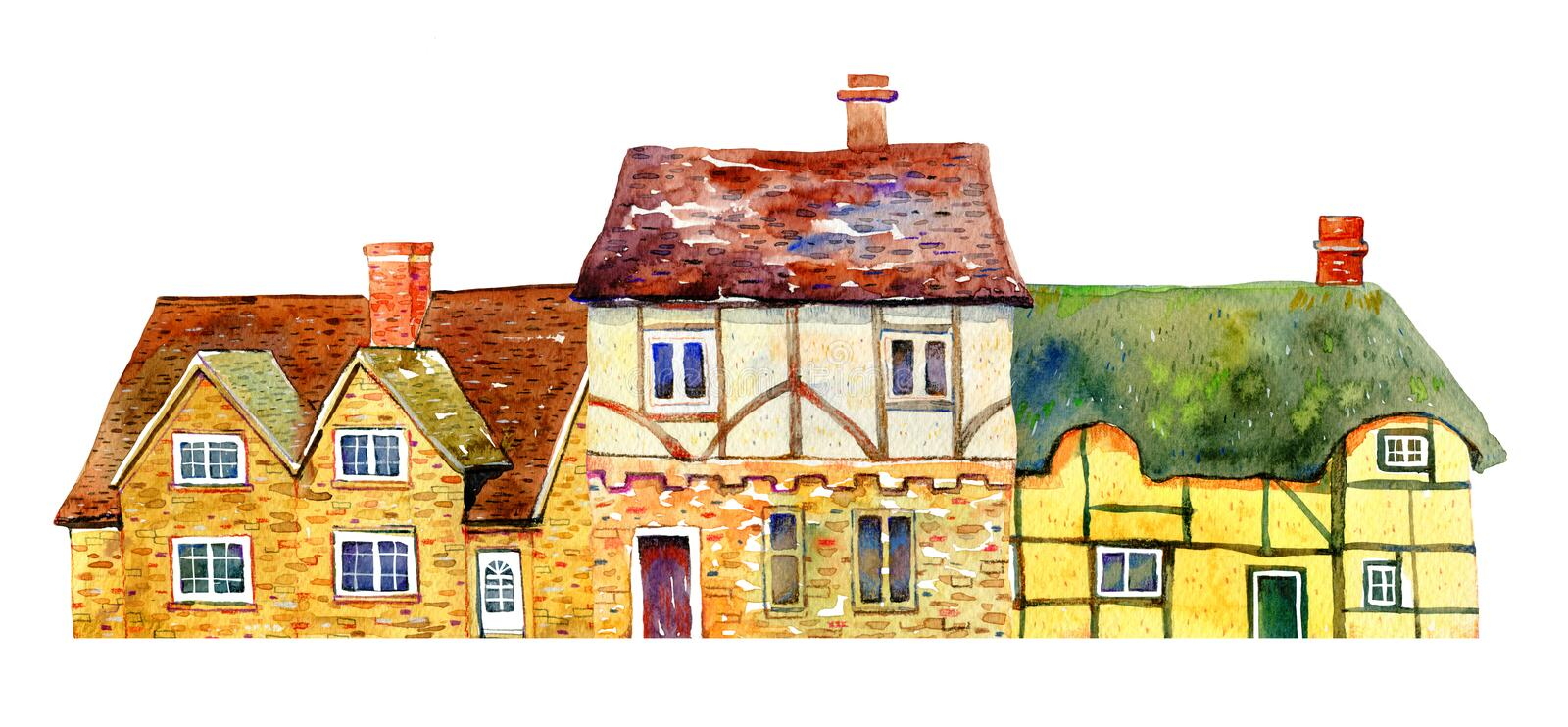 English village buildings in row. Watercolor old stone europe houses. Hand drawn illustration stock photo