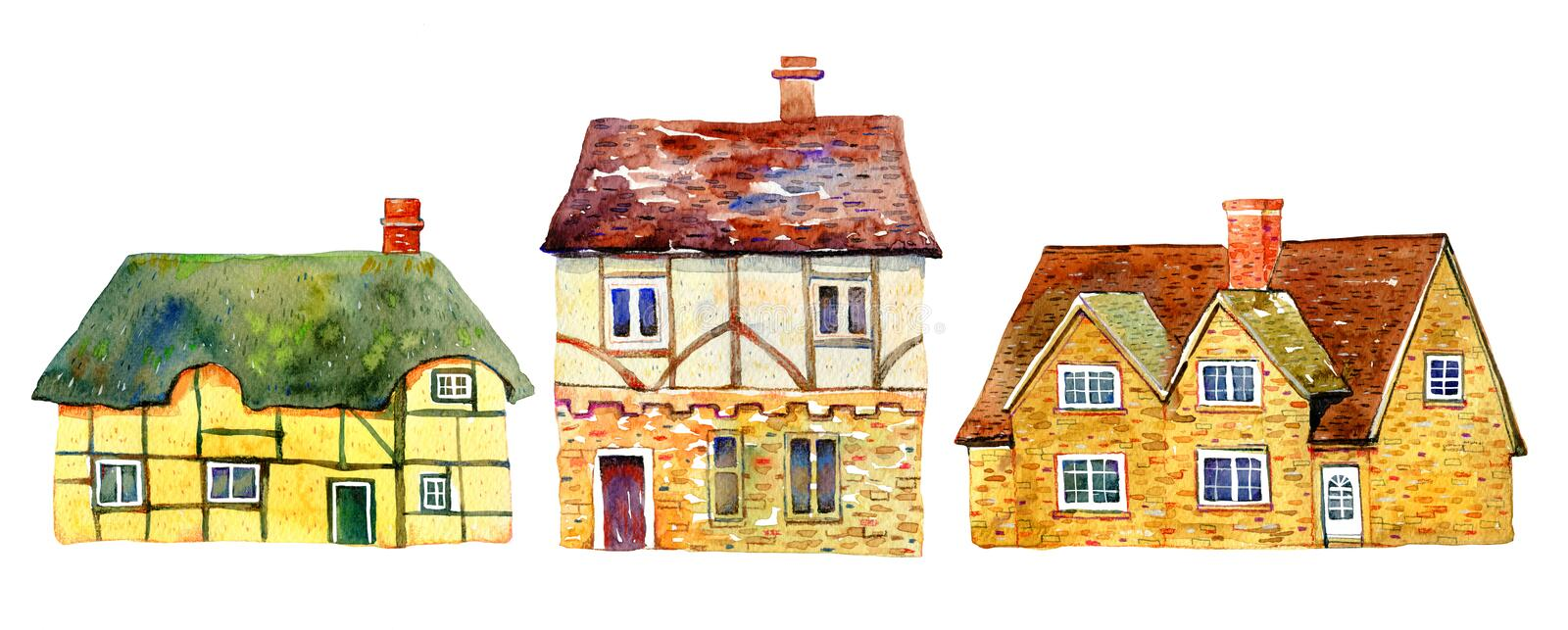 English village buildings separated in row. Watercolor old stone europe houses. Hand drawn illustration vector illustration