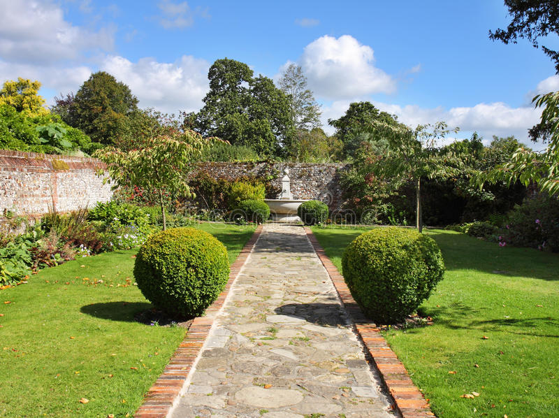 An English Walled Garden with Path stock images