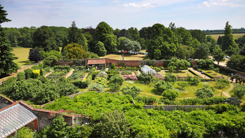 Birdseye view of an English Walled Garden stock images