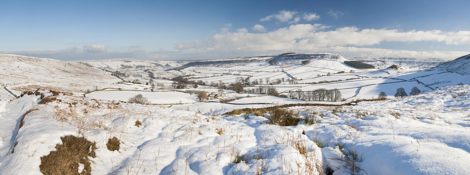 English winter countryside snowy landscape. Panoramic view over a snowy winter english countryside rural landscape with fields and meadows royalty free stock photo