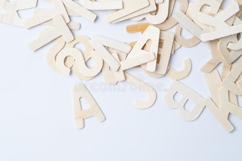 English wood letters on white. Blackground stock photography
