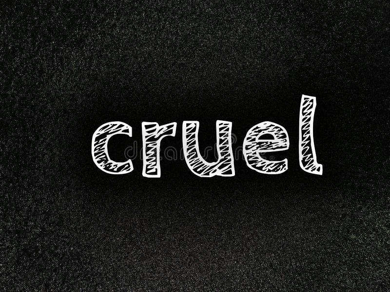 The english word cruel in simple white color font stock image