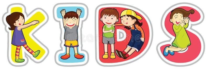 English word kids vector illustration