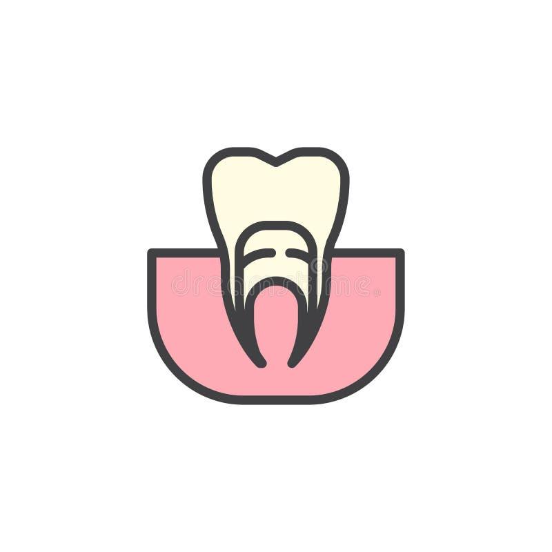 Engoma el icono llenado diente del esquema stock de ilustración