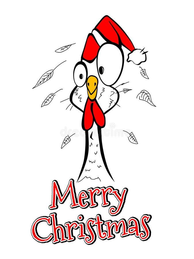 Engraçado cômico do galo da galinha do ano do Feliz Natal do Feliz Natal ilustração stock