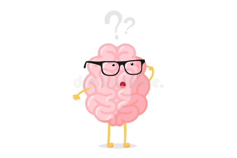 Engraçado, o cérebro humano pensou que personagem com óculos pensa sobre o ponto de interrogação Buscando o conceito do cérebro d ilustração do vetor