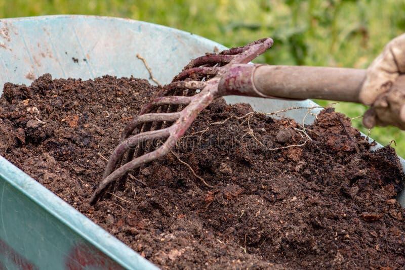 Engrais : bio engrais naturel organique dans une brouette de roue avec la fourche La vie de ferme images stock