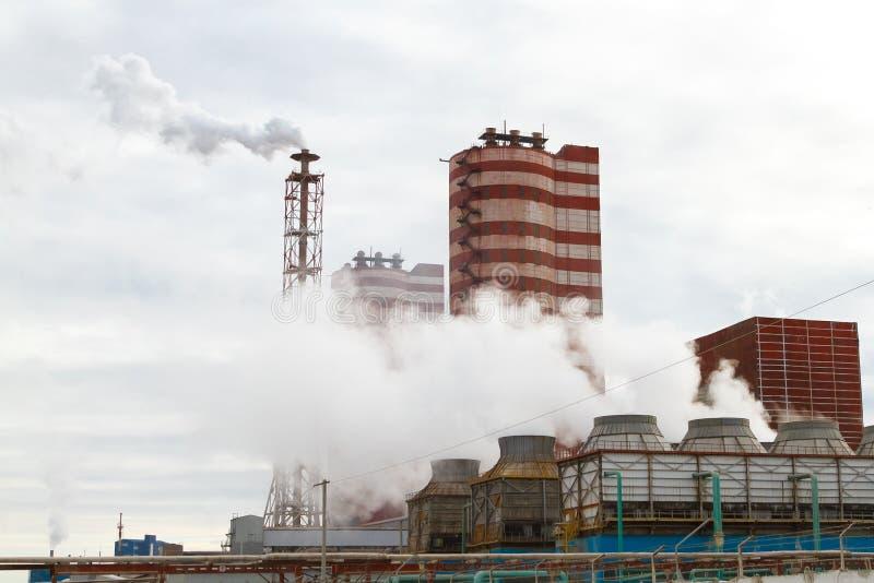 Engrais minéraux d'usine d'échappement Illustration de pollution environnementale image stock