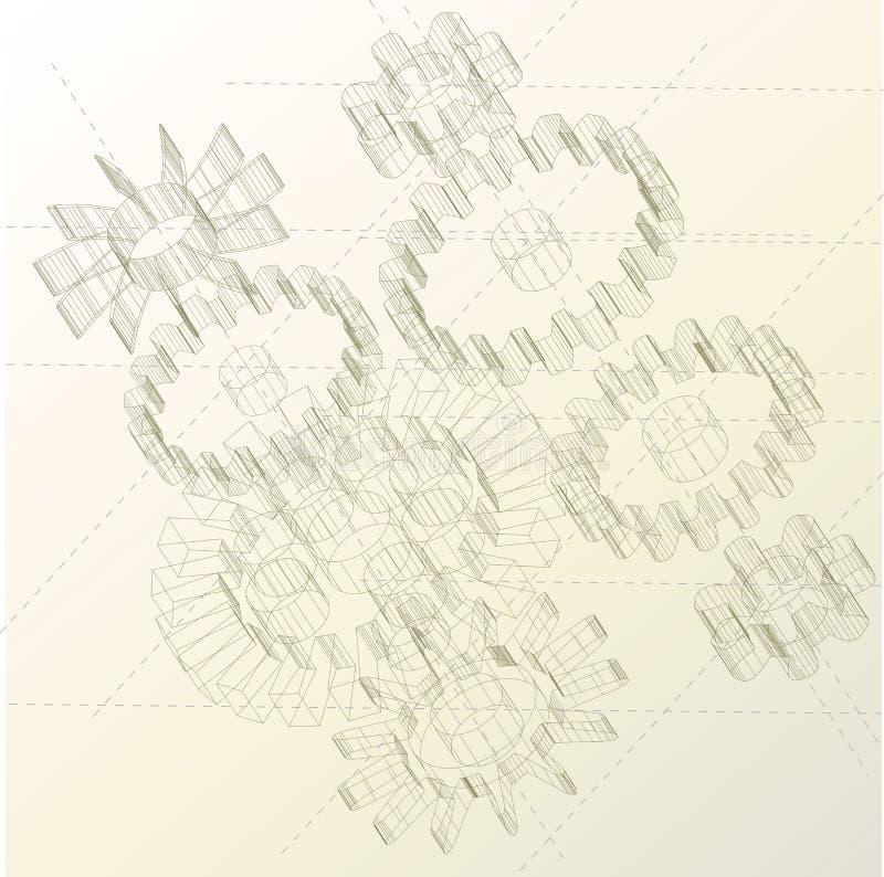 Engrana el fondo ilustración del vector