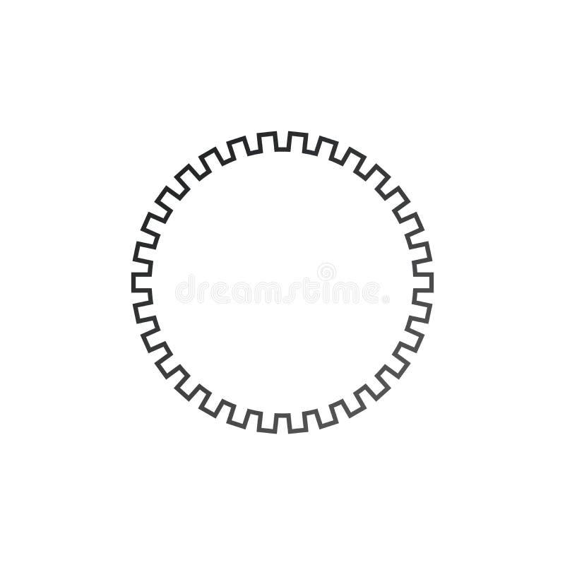 Engrana el icono de las configuraciones Mecanismo de engranaje de la rueda dentada Ilustraci?n del vector aislada en el fondo bla libre illustration