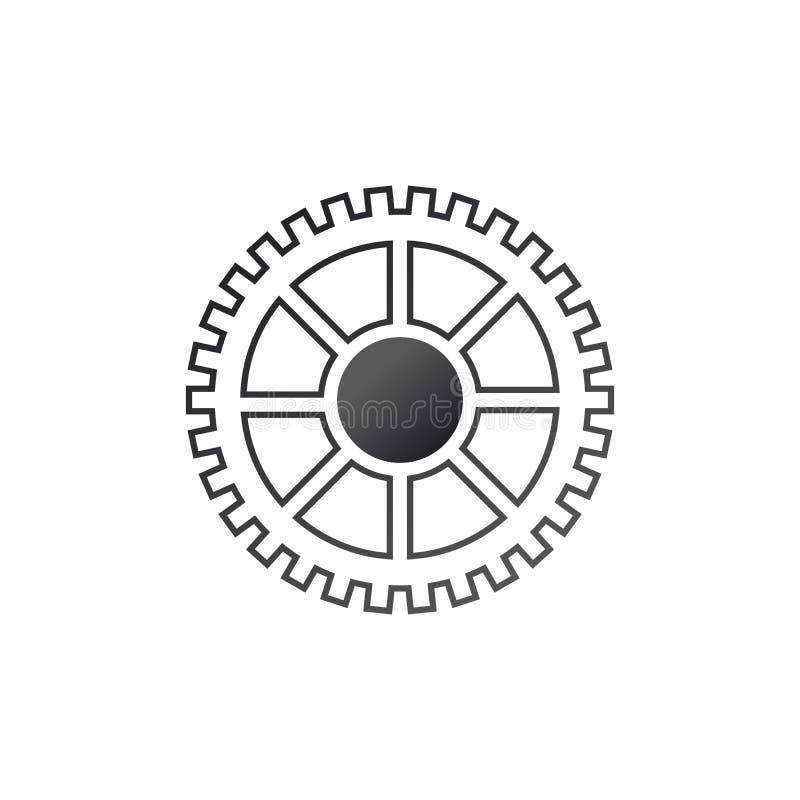Engrana el icono de las configuraciones Mecanismo de engranaje de la rueda dentada Ilustraci?n del vector aislada en el fondo bla ilustración del vector