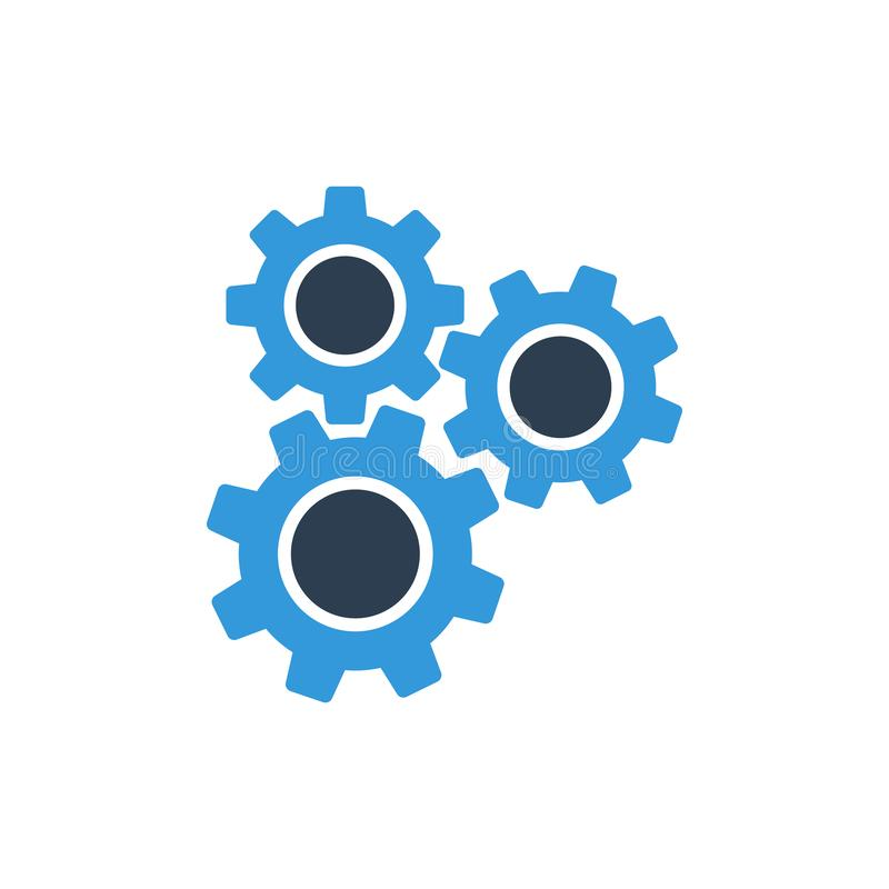 Engrana la maquinaria Icono del vector de los ajustes para los proyectos de las p?ginas web stock de ilustración