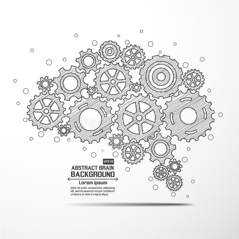 Engranaje abstracto del cerebro stock de ilustración