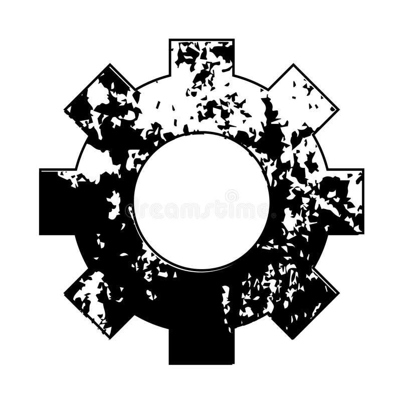 Engranaje aherrumbrado, aislado en el fondo blanco ilustración del vector