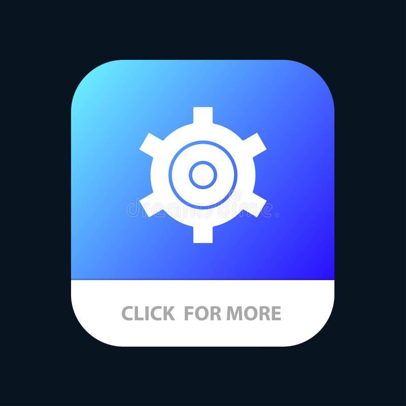 Engranaje, ajuste, botón móvil del App de los dientes Android y versión del Glyph del IOS stock de ilustración