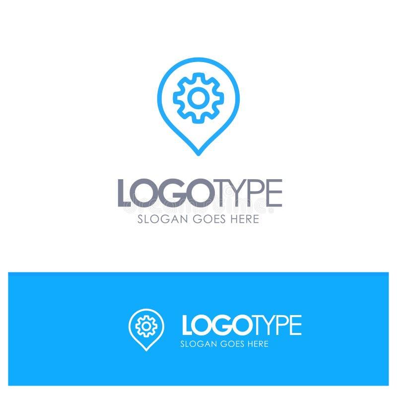 Engranaje, ajuste, ubicación, logotipo azul del esquema del mapa con el lugar para el tagline stock de ilustración