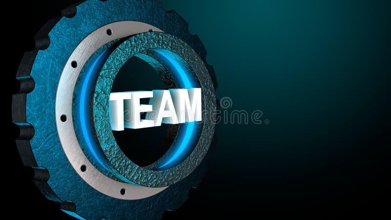 engranaje azul del brillo 3D con el equipo de la palabra Concepto del negocio, espacio de la copia representación 3d libre illustration