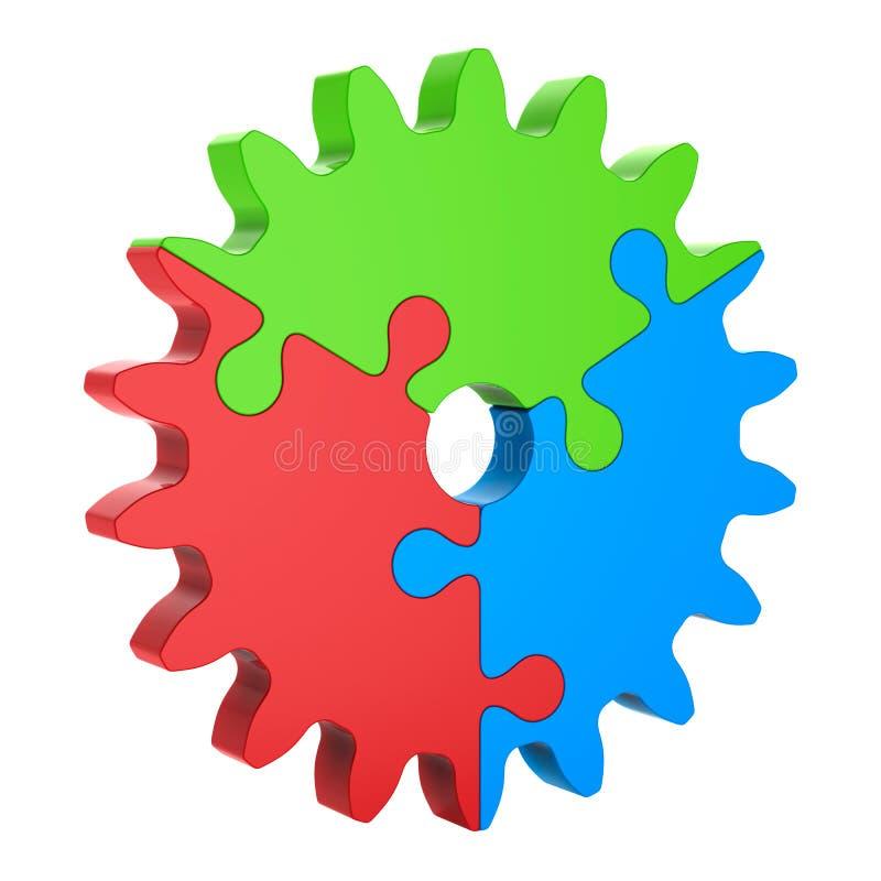 engranaje azulverde rojo del rompecabezas 3d, aislado en blanco fotografía de archivo libre de regalías