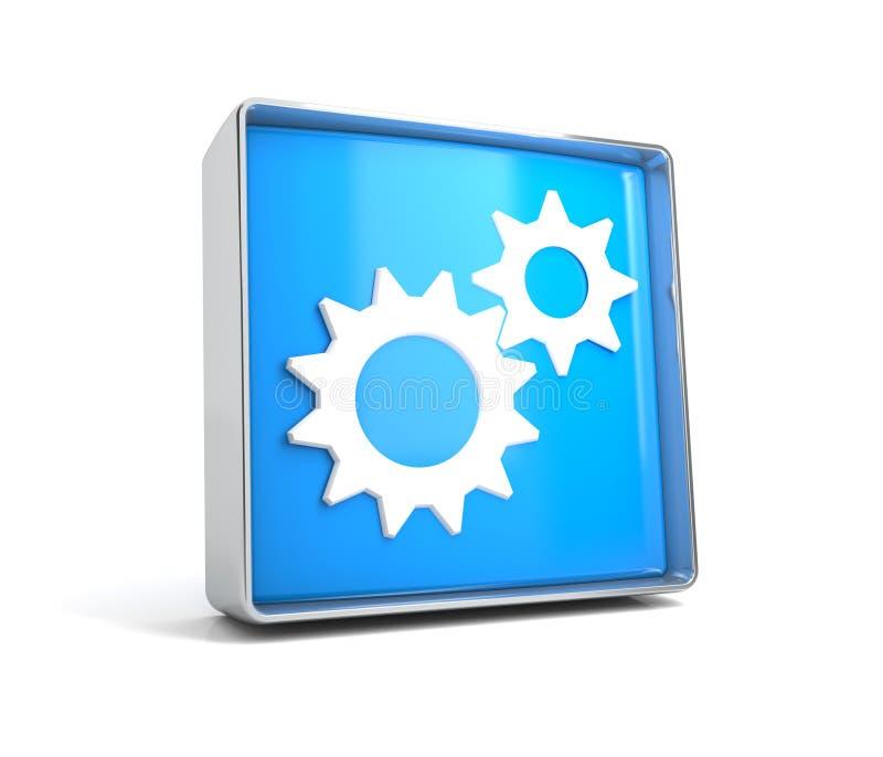 Engranaje - botón de la web aislado en el fondo blanco stock de ilustración