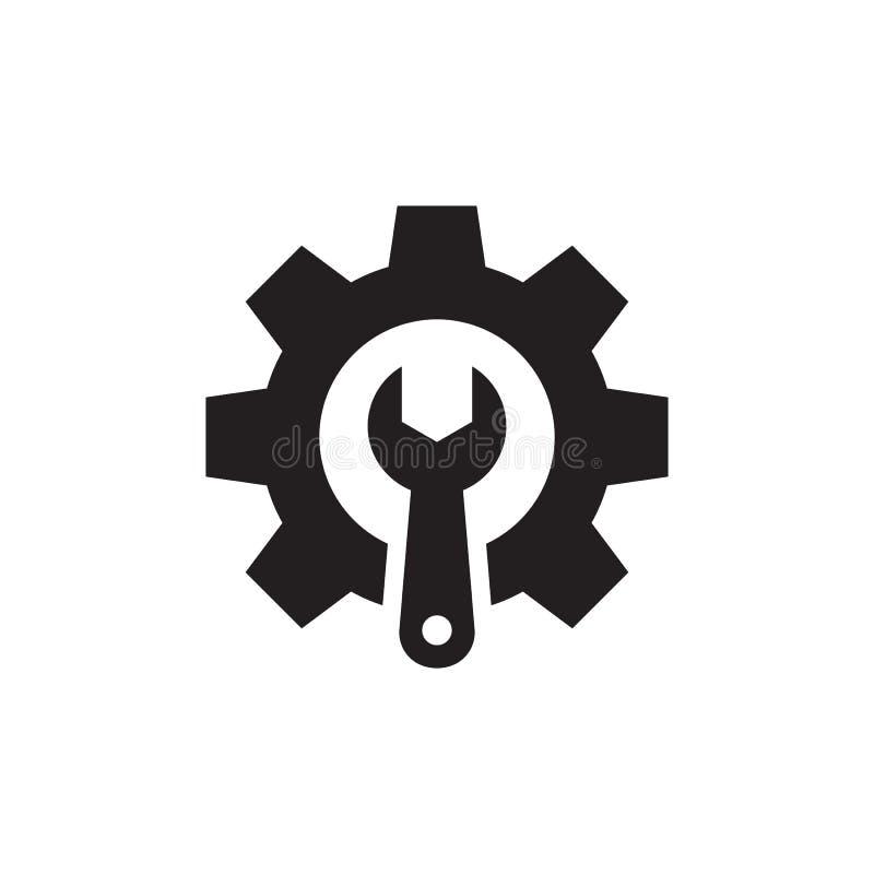 Engranaje con la llave - icono negro en el ejemplo blanco del vector del fondo para la página web, aplicación móvil, presentación stock de ilustración