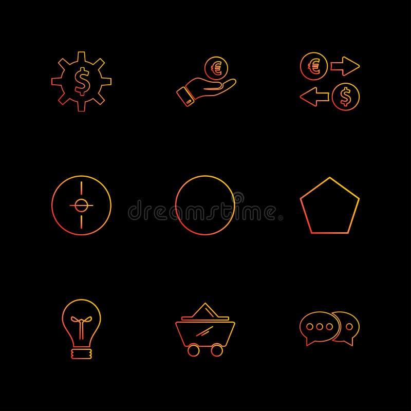 engranaje, dólar, círculo, blanco, idea, formas, electrónicas ilustración del vector