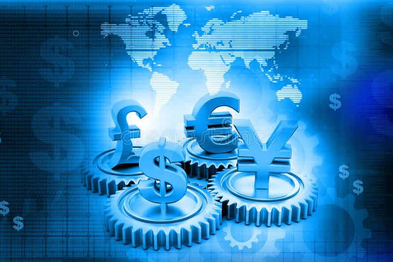 engranaje 3d con moneda global libre illustration