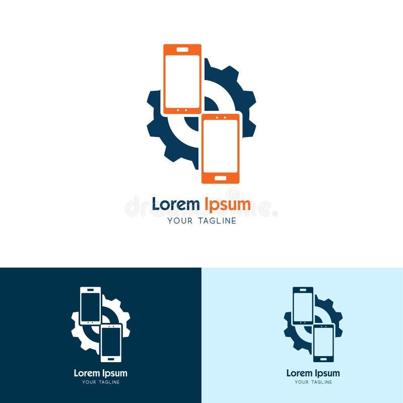 Engranaje de Handphone, icono del logotipo del handphone de la reparación, servicio de Handphone Vector libre illustration