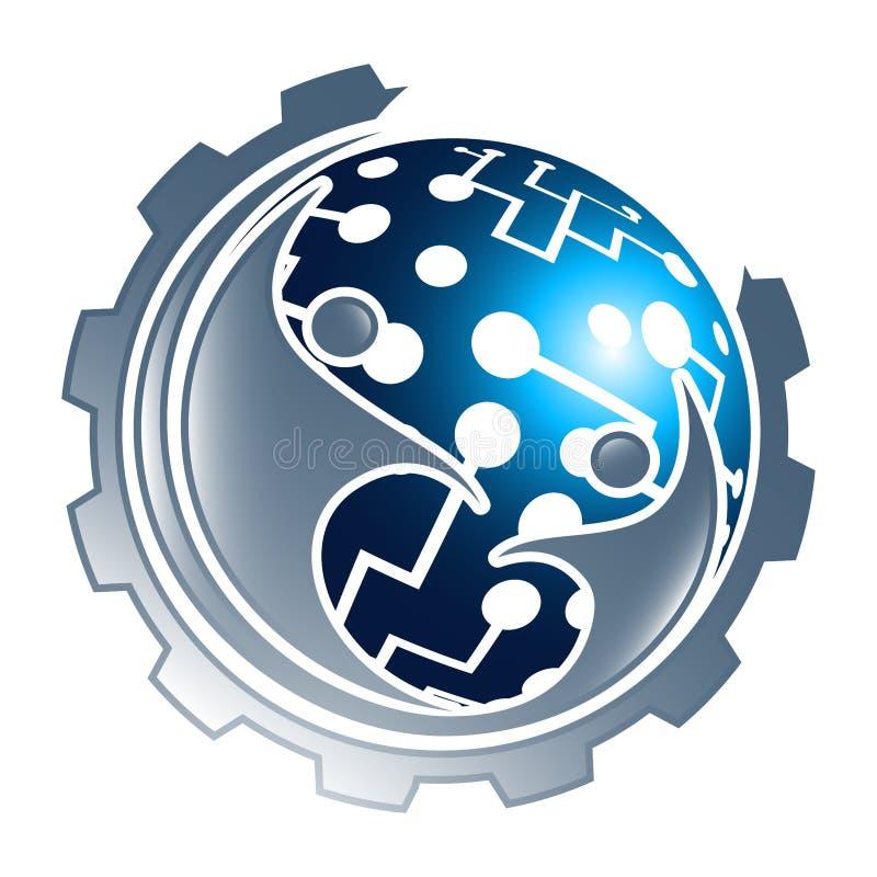 Engranaje de la esfera de la tecnología de Digitaces con diseño de concepto de la gente Vector gr?fico del elemento de la plantil libre illustration