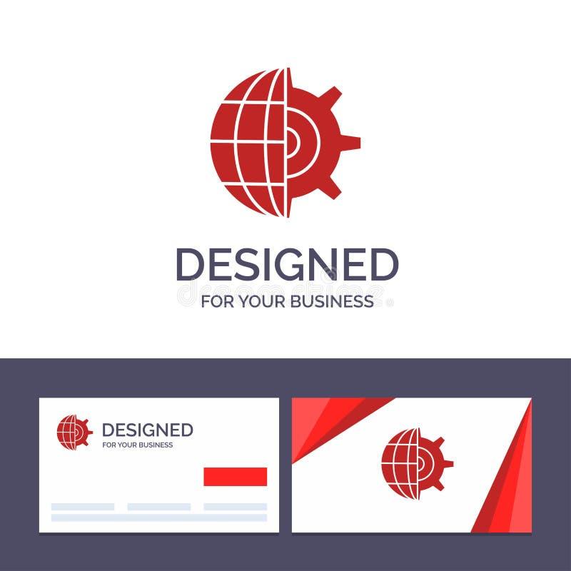 Engranaje de visita de la plantilla creativa de la tarjeta y del logotipo, globo, ajuste, ejemplo del vector del negocio libre illustration