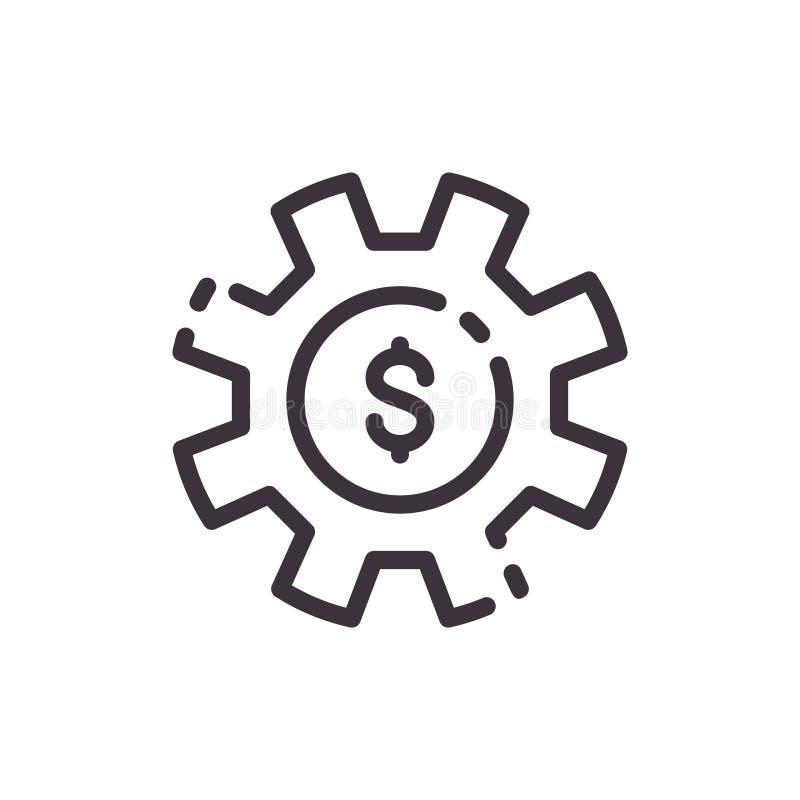Engranaje del dólar Ciclo del urrency del ¡de Ð Icono del negro del trazador de líneas del vector ilustración del vector