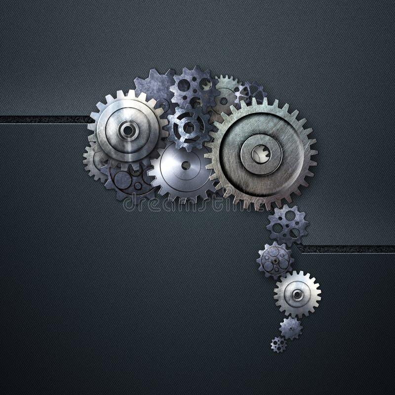 Engranaje del metal en parecer azul del fondo del carbono un cerebro humano libre illustration