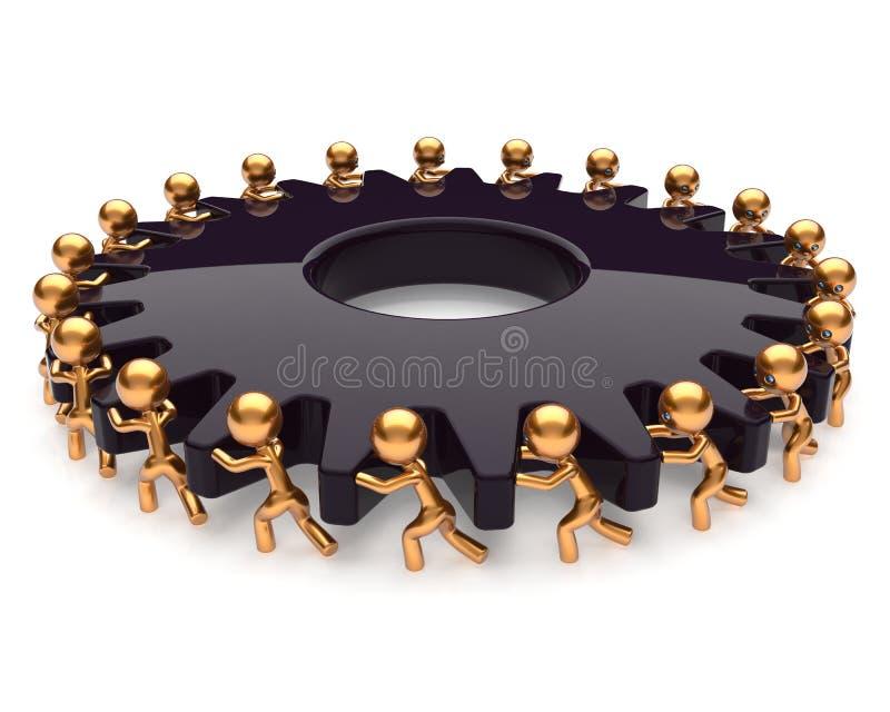 Engranaje del negro del trabajo duro del proceso de negocio del trabajo en equipo de la sociedad ilustración del vector