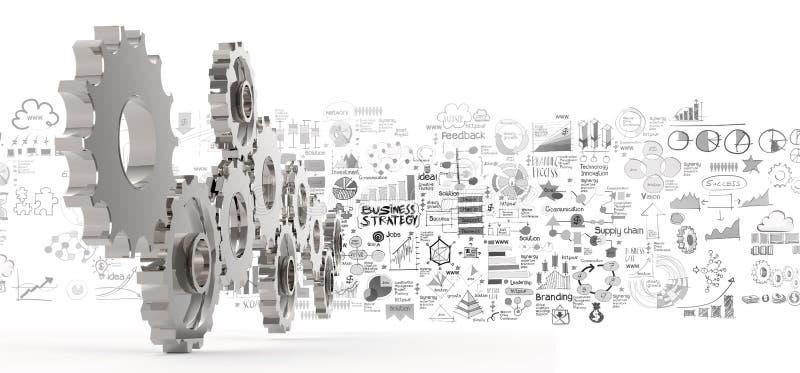 Engranaje dibujado mano de la estrategia empresarial 3d al éxito ilustración del vector