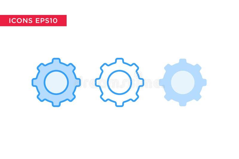 Engranaje, fijando el icono en línea, el esquema, el esquema llenado y el estilo plano del diseño aislados en el fondo blanco Vec libre illustration