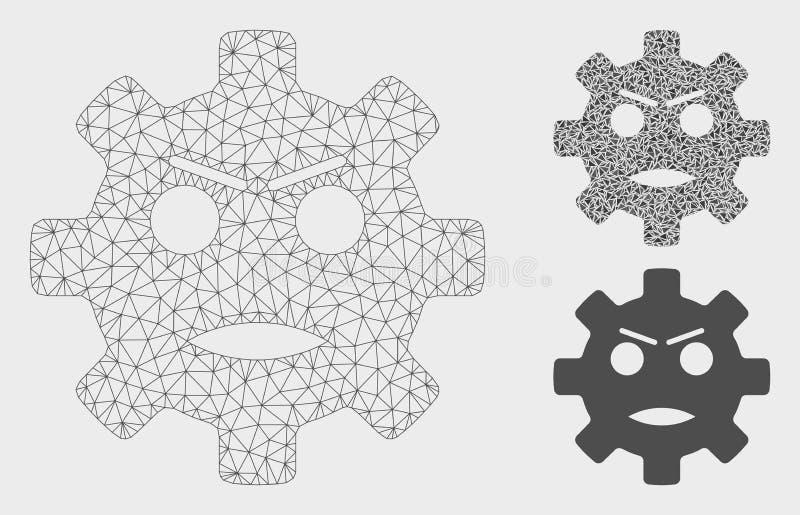 Engranaje icono enojado del mosaico de Smiley Vector Mesh Carcass Model y del triángulo stock de ilustración