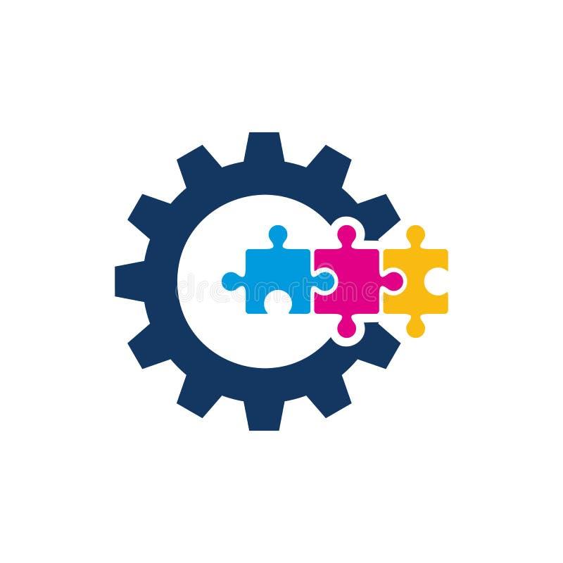 Engranaje Logo Icon Design del rompecabezas stock de ilustración