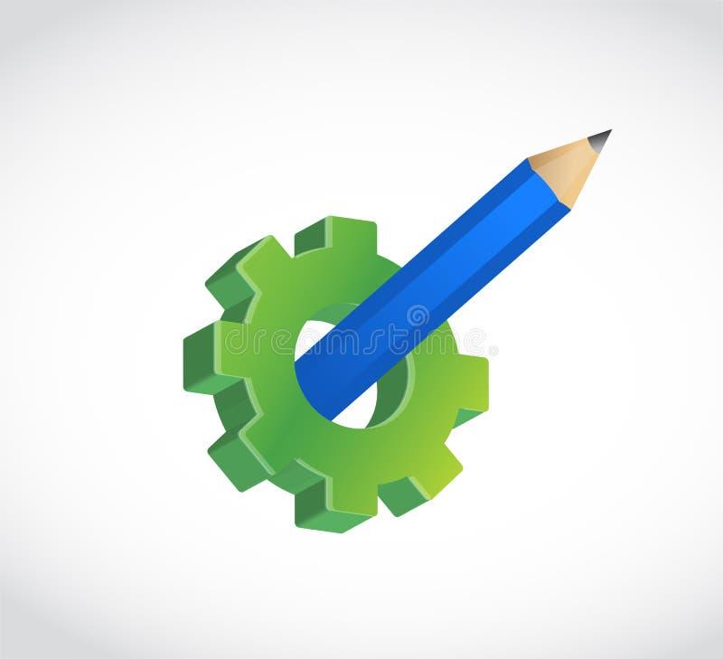 engranaje verde con el lápiz de la idea dentro ilustración del vector