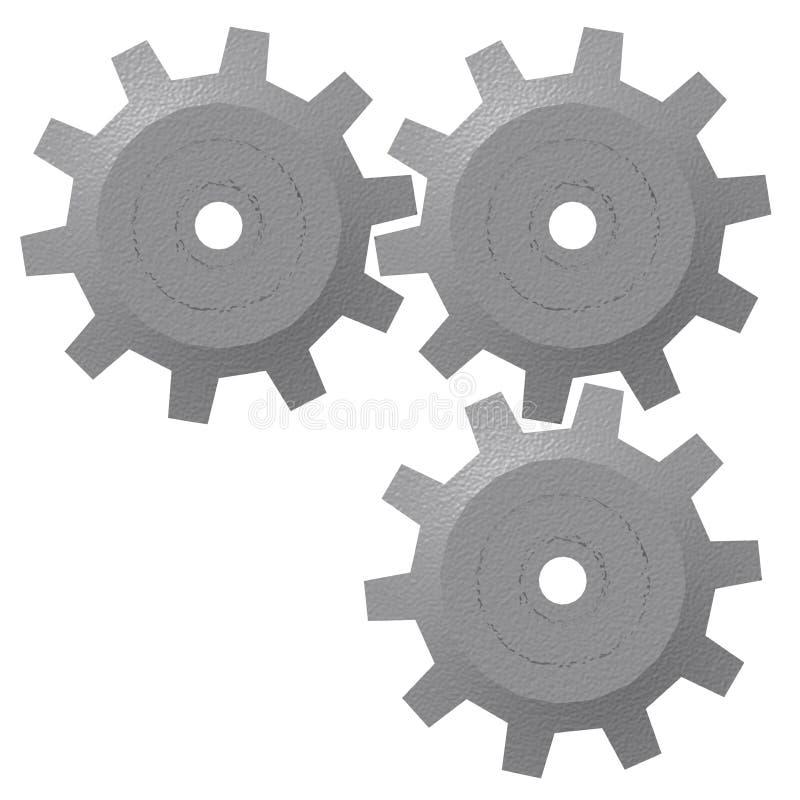 engranajes 3d aislados ilustración del vector