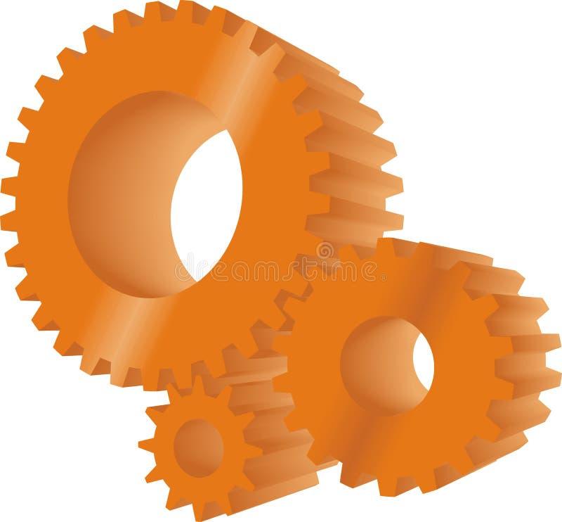 Engranajes anaranjados ilustración del vector