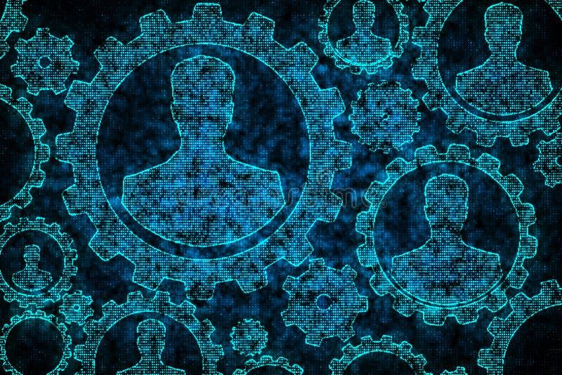 Engranajes azules del hombre de negocios del pixel de Digitaces libre illustration