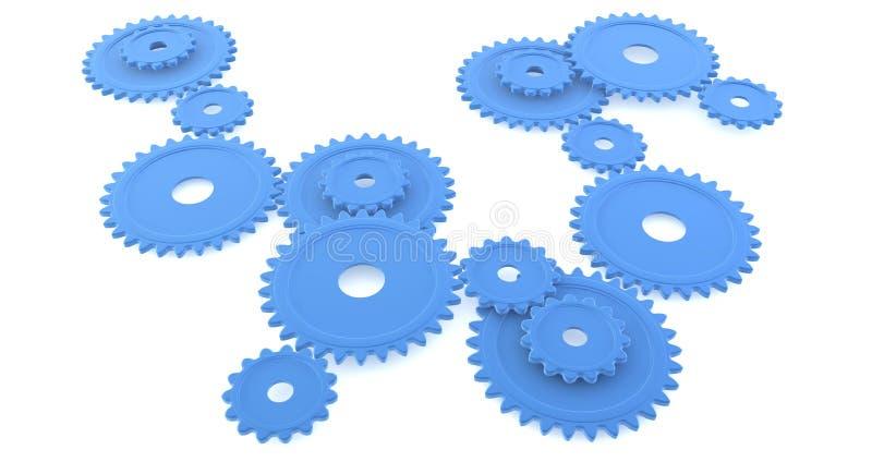 Engranajes azules redondos stock de ilustración