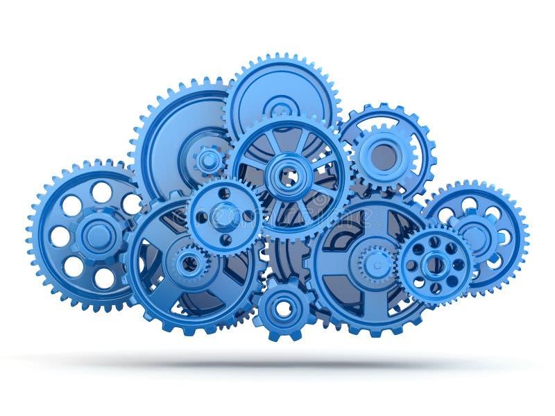 Engranajes. Computación de la nube. stock de ilustración