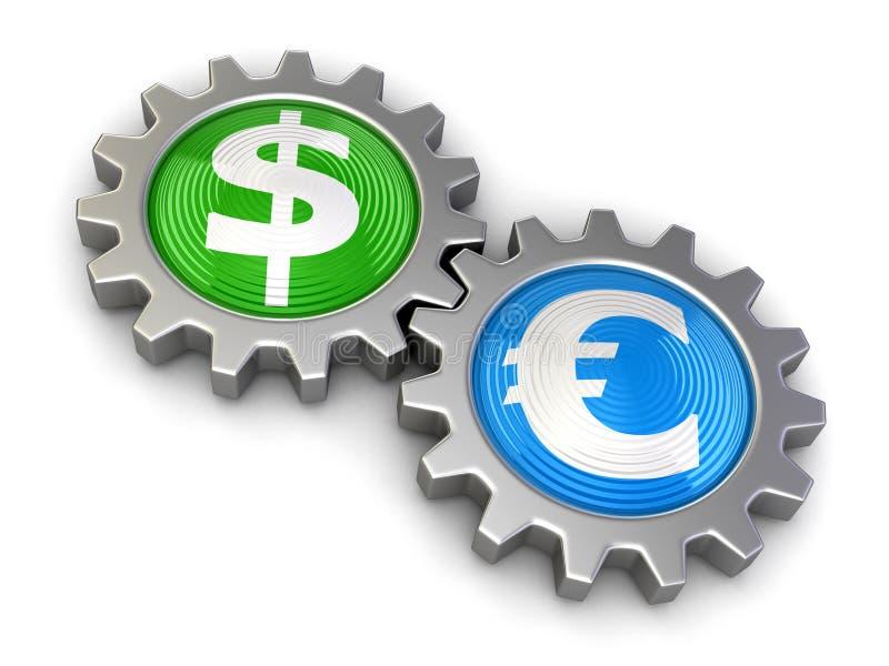 Engranajes con el dólar y el euro (trayectoria de recortes incluida) ilustración del vector